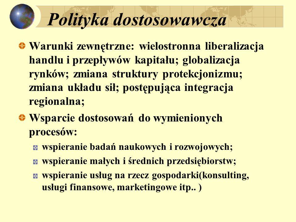 Polityka dostosowawcza Warunki zewnętrzne: wielostronna liberalizacja handlu i przepływów kapitału; globalizacja rynków; zmiana struktury protekcjoniz