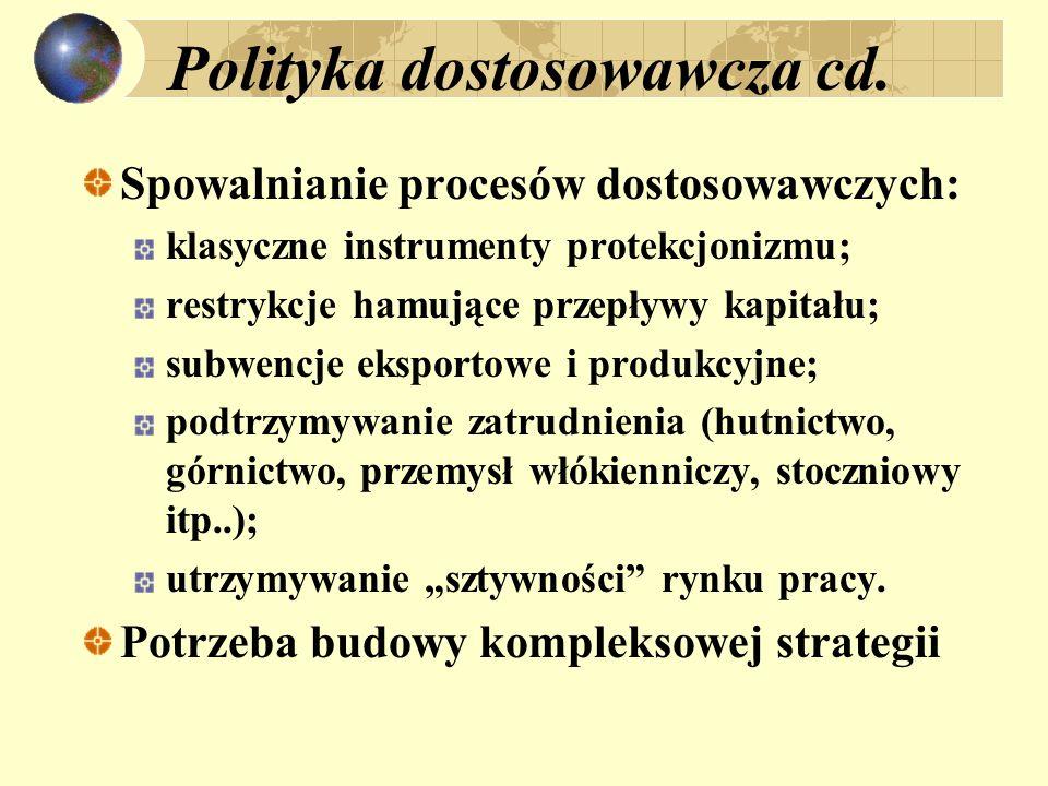 Polityka dostosowawcza cd. Spowalnianie procesów dostosowawczych: klasyczne instrumenty protekcjonizmu; restrykcje hamujące przepływy kapitału; subwen
