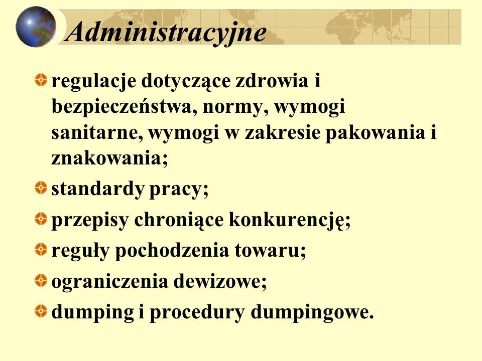 Administracyjne regulacje dotyczące zdrowia i bezpieczeństwa, normy, wymogi sanitarne, wymogi w zakresie pakowania i znakowania; standardy pracy; prze