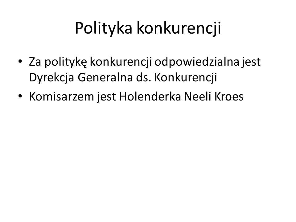 Polityka konkurencji Za politykę konkurencji odpowiedzialna jest Dyrekcja Generalna ds.