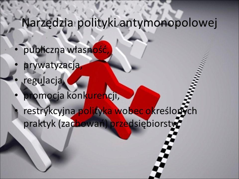 Narzędzia polityki antymonopolowej publiczna własność, prywatyzacja, regulacja, promocja konkurencji, restrykcyjna polityka wobec określonych praktyk (zachowań) przedsiębiorstw.