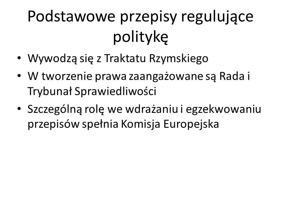 Podstawowe przepisy regulujące politykę Wywodzą się z Traktatu Rzymskiego W tworzenie prawa zaangażowane są Rada i Trybunał Sprawiedliwości Szczególną rolę we wdrażaniu i egzekwowaniu przepisów spełnia Komisja Europejska