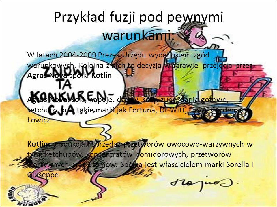 Przykład fuzji pod pewnymi warunkami: W latach 2004-2009 Prezes Urzędu wydał osiem zgód warunkowych.