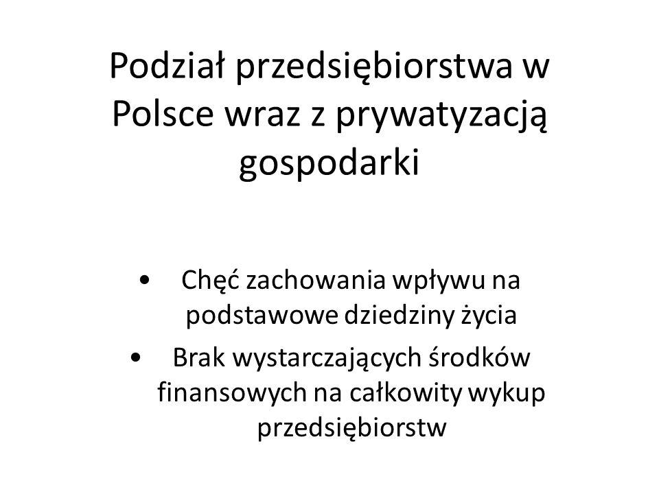 Podział przedsiębiorstwa w Polsce wraz z prywatyzacją gospodarki Chęć zachowania wpływu na podstawowe dziedziny życia Brak wystarczających środków finansowych na całkowity wykup przedsiębiorstw