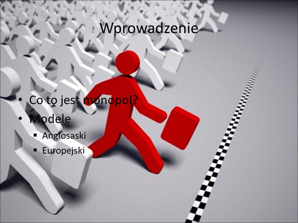 Wprowadzenie Co to jest monopol? Modele Anglosaski Europejski