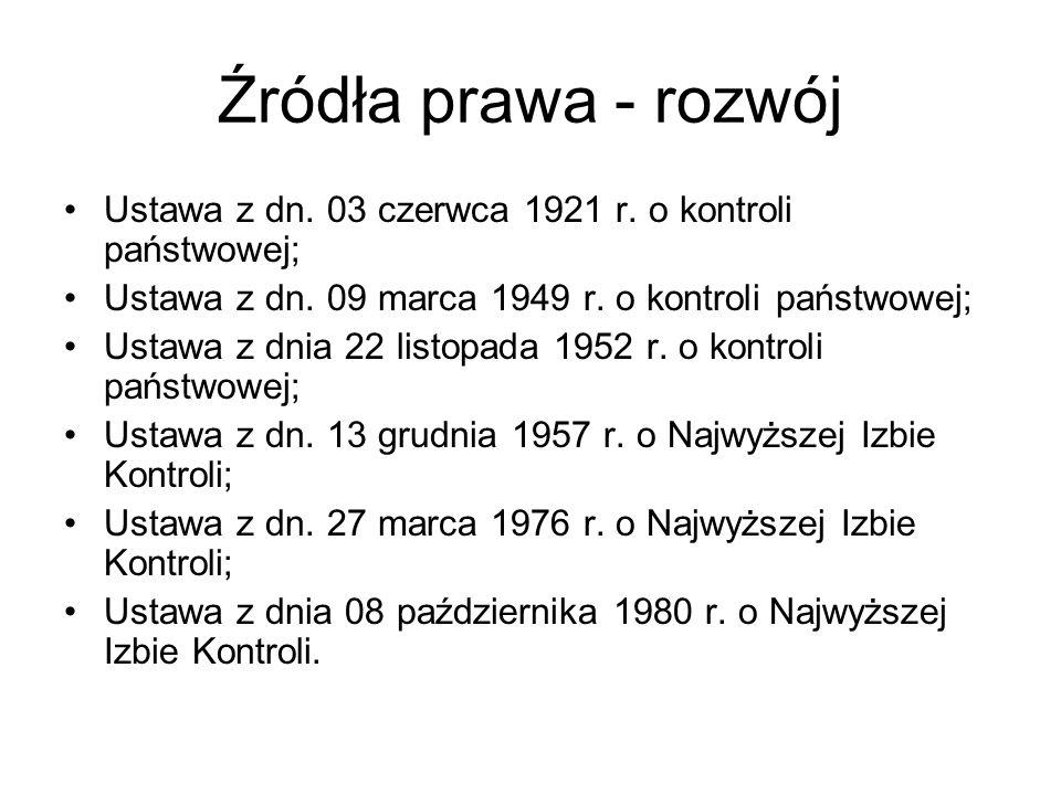 Źródła prawa - rozwój Ustawa z dn. 03 czerwca 1921 r. o kontroli państwowej; Ustawa z dn. 09 marca 1949 r. o kontroli państwowej; Ustawa z dnia 22 lis