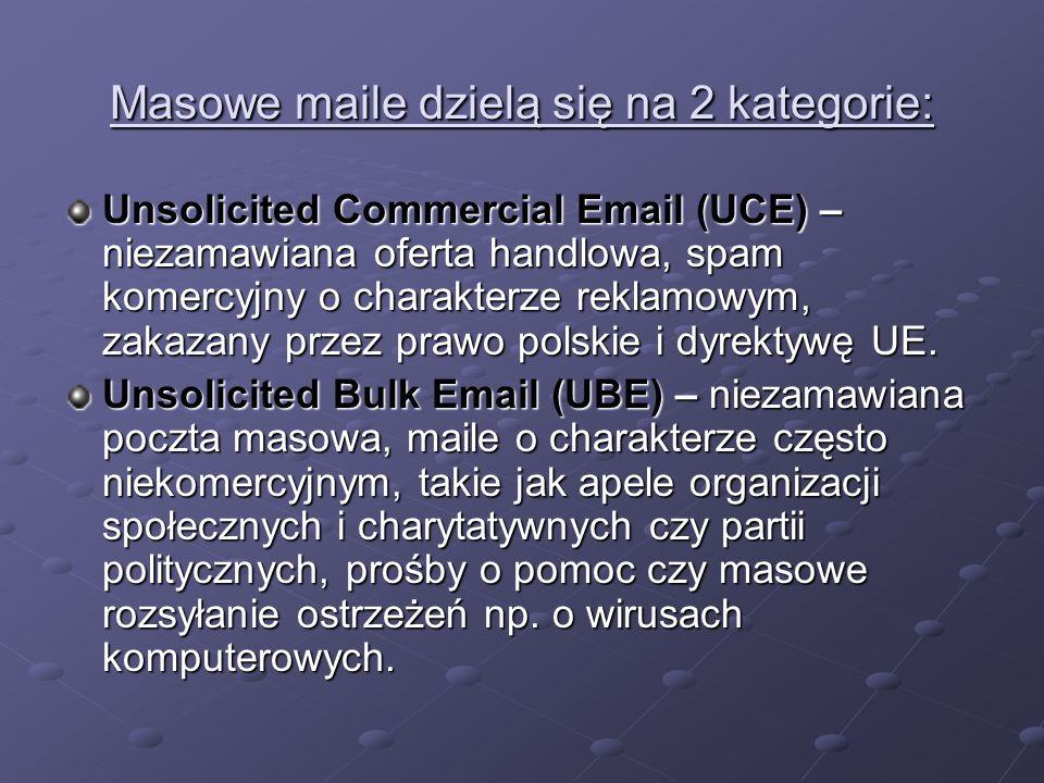 Masowe maile dzielą się na 2 kategorie: Unsolicited Commercial Email (UCE) – niezamawiana oferta handlowa, spam komercyjny o charakterze reklamowym, z