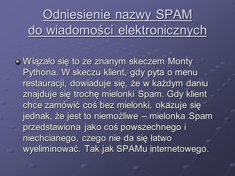 Odniesienie nazwy SPAM do wiadomości elektronicznych Wiązało się to ze znanym skeczem Monty Pythona. W skeczu klient, gdy pyta o menu restauracji, dow