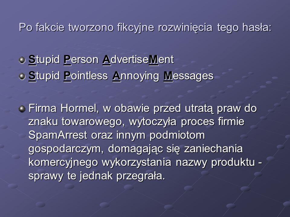 Po fakcie tworzono fikcyjne rozwinięcia tego hasła: Stupid Person AdvertiseMent Stupid Pointless Annoying Messages Firma Hormel, w obawie przed utratą