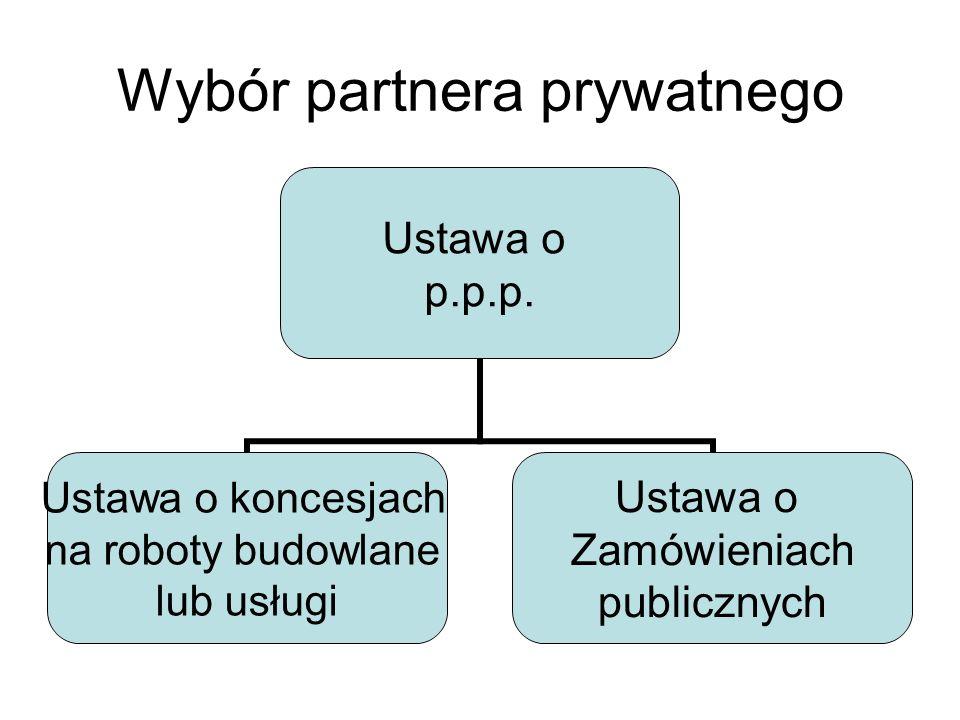Wybór partnera prywatnego Ustawa o p.p.p.