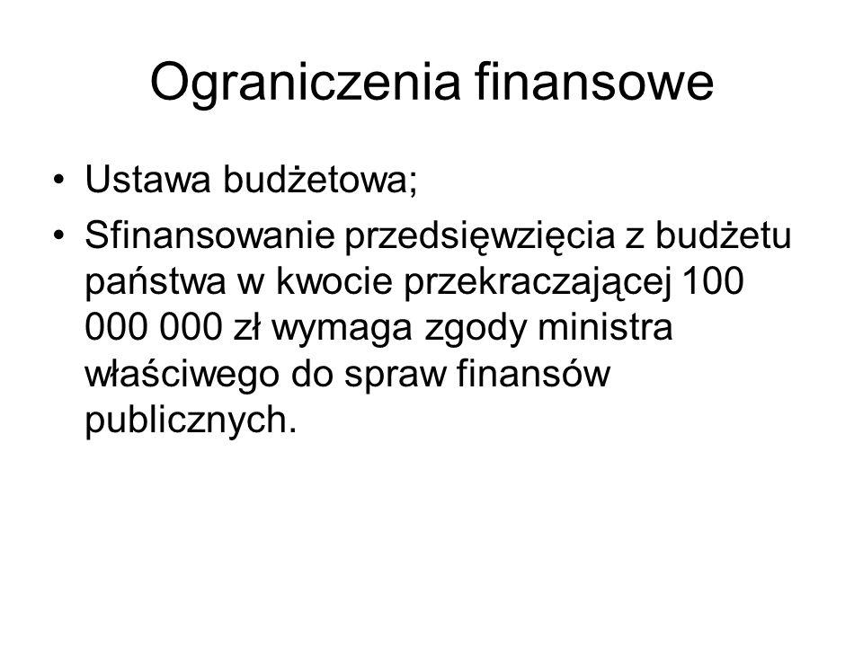 Ograniczenia finansowe Ustawa budżetowa; Sfinansowanie przedsięwzięcia z budżetu państwa w kwocie przekraczającej 100 000 000 zł wymaga zgody ministra właściwego do spraw finansów publicznych.