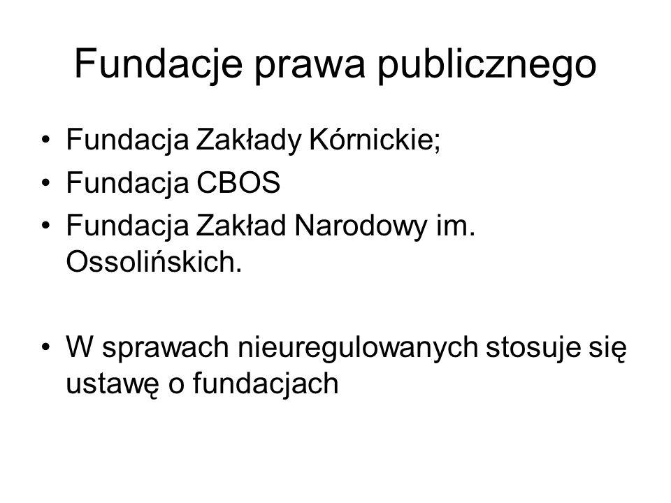 Fundacje prawa publicznego Fundacja Zakłady Kórnickie; Fundacja CBOS Fundacja Zakład Narodowy im.