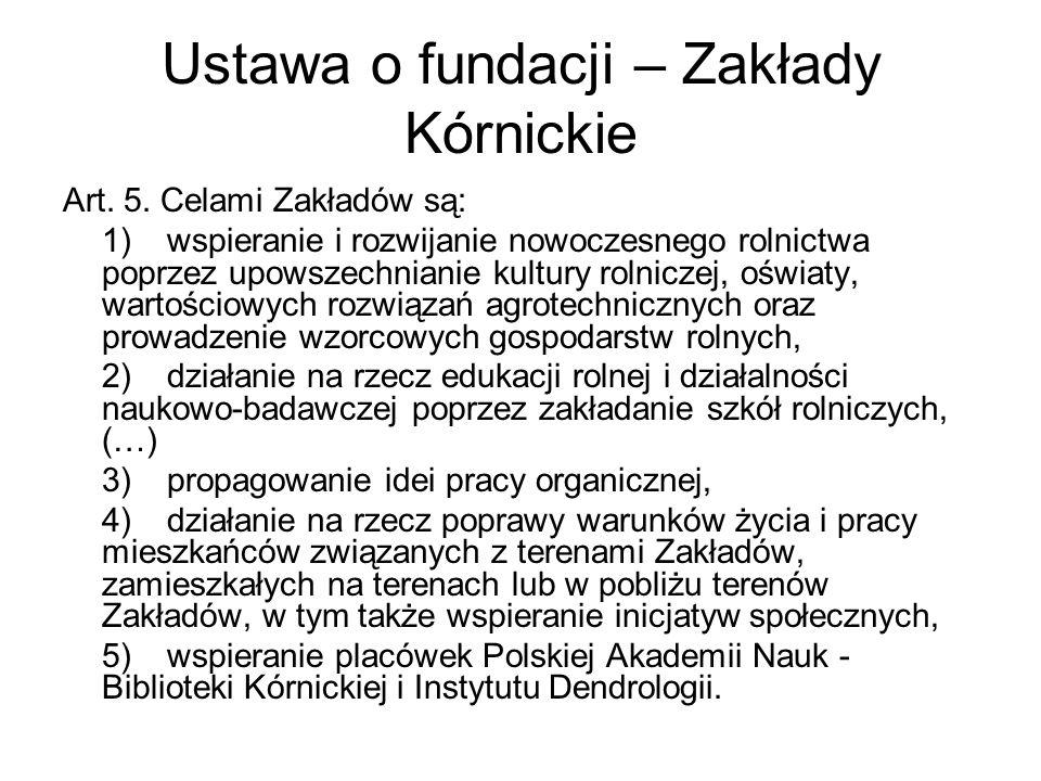 Ustawa o fundacji – Zakłady Kórnickie Art. 5.