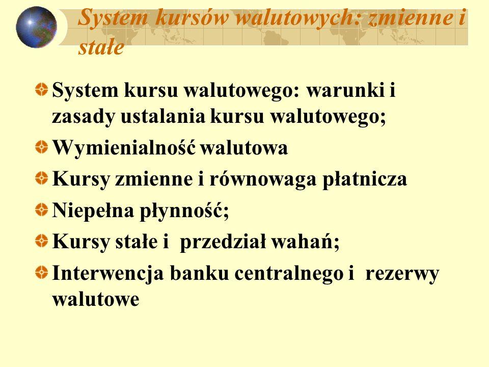 System kursów walutowych: zmienne i stałe System kursu walutowego: warunki i zasady ustalania kursu walutowego; Wymienialność walutowa Kursy zmienne i