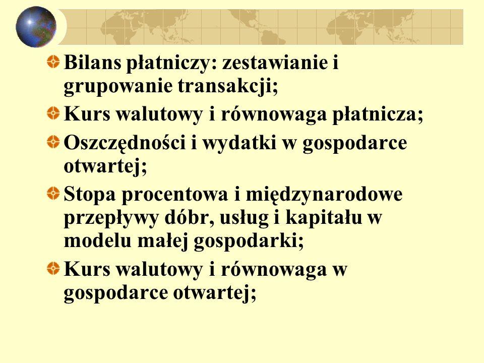 Bilans płatniczy: zestawianie i grupowanie transakcji; Kurs walutowy i równowaga płatnicza; Oszczędności i wydatki w gospodarce otwartej; Stopa procen