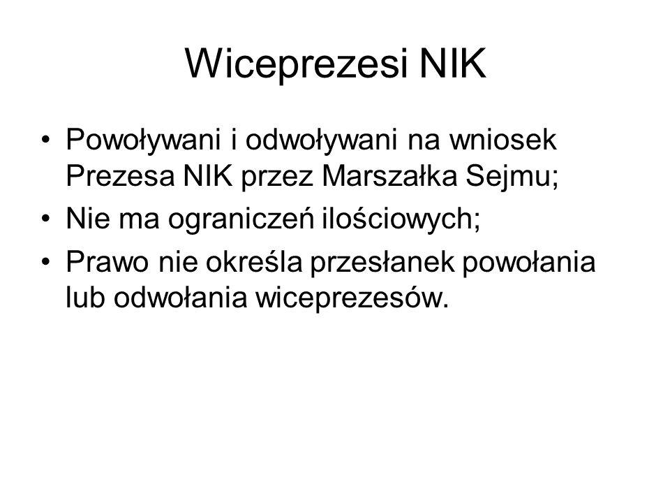 Wiceprezesi NIK Powoływani i odwoływani na wniosek Prezesa NIK przez Marszałka Sejmu; Nie ma ograniczeń ilościowych; Prawo nie określa przesłanek powo