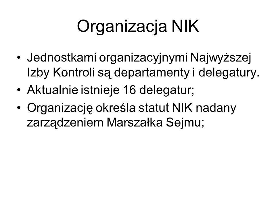 Organizacja NIK Jednostkami organizacyjnymi Najwyższej Izby Kontroli są departamenty i delegatury. Aktualnie istnieje 16 delegatur; Organizację określ