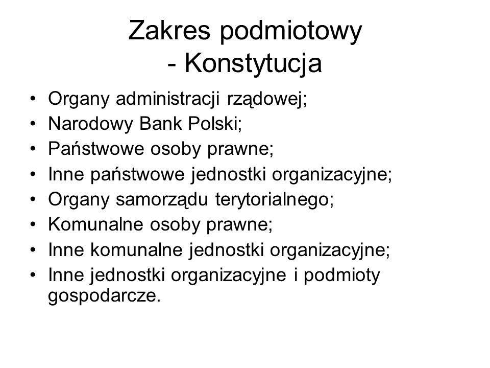 Zakres podmiotowy - Konstytucja Organy administracji rządowej; Narodowy Bank Polski; Państwowe osoby prawne; Inne państwowe jednostki organizacyjne; O