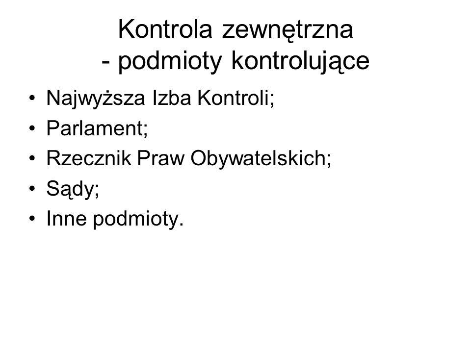 Kontrola zewnętrzna - podmioty kontrolujące Najwyższa Izba Kontroli; Parlament; Rzecznik Praw Obywatelskich; Sądy; Inne podmioty.