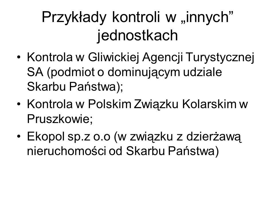 Przykłady kontroli w innych jednostkach Kontrola w Gliwickiej Agencji Turystycznej SA (podmiot o dominującym udziale Skarbu Państwa); Kontrola w Polsk