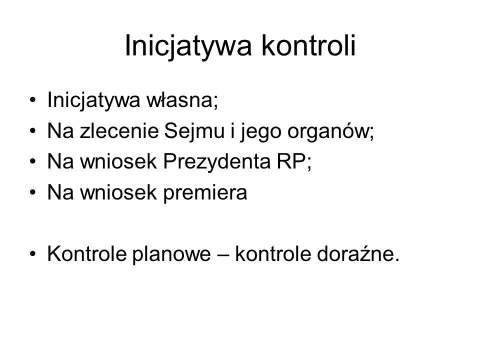 Inicjatywa kontroli Inicjatywa własna; Na zlecenie Sejmu i jego organów; Na wniosek Prezydenta RP; Na wniosek premiera Kontrole planowe – kontrole dor