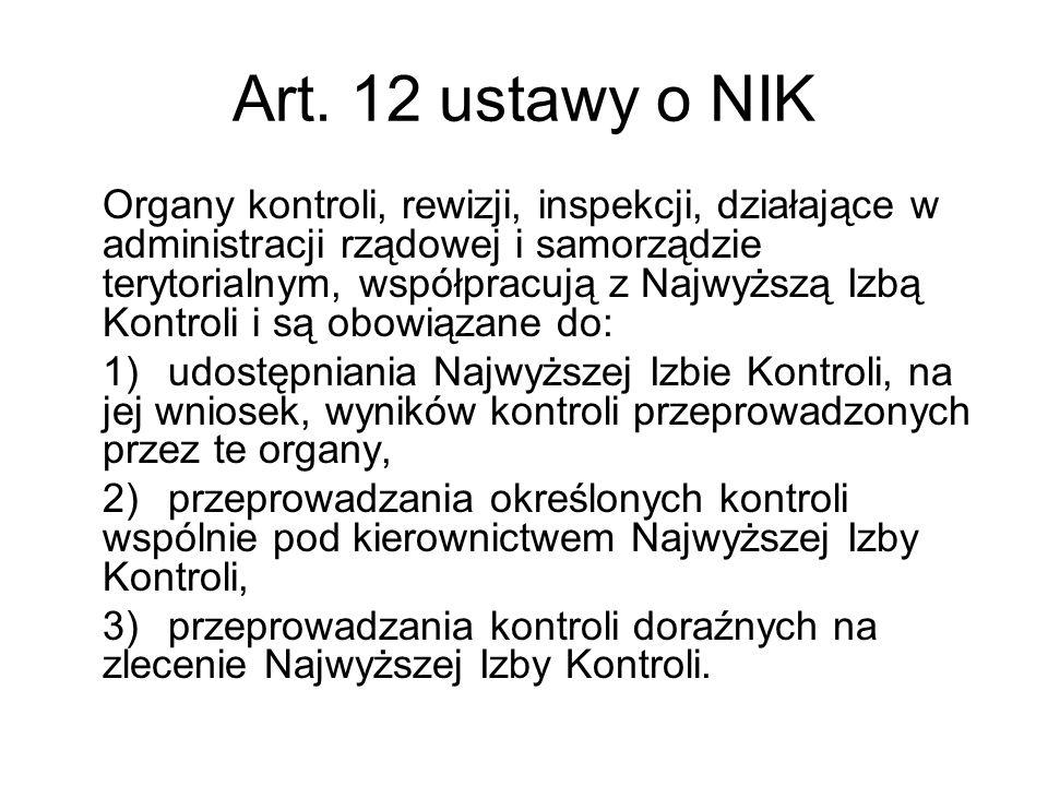 Art. 12 ustawy o NIK Organy kontroli, rewizji, inspekcji, działające w administracji rządowej i samorządzie terytorialnym, współpracują z Najwyższą Iz