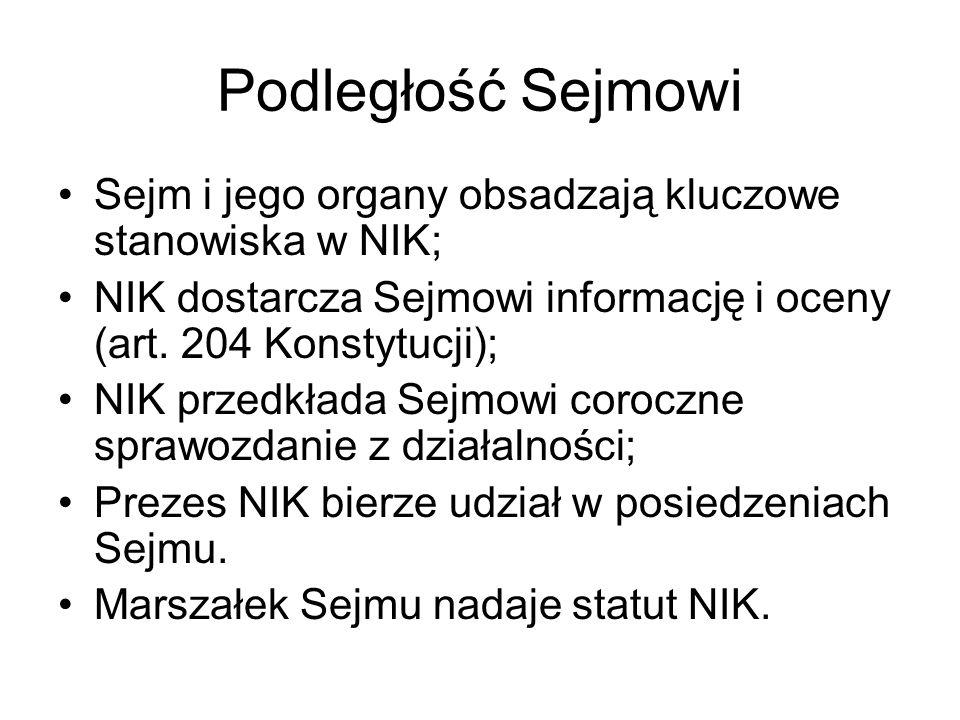 Podległość Sejmowi Sejm i jego organy obsadzają kluczowe stanowiska w NIK; NIK dostarcza Sejmowi informację i oceny (art. 204 Konstytucji); NIK przedk