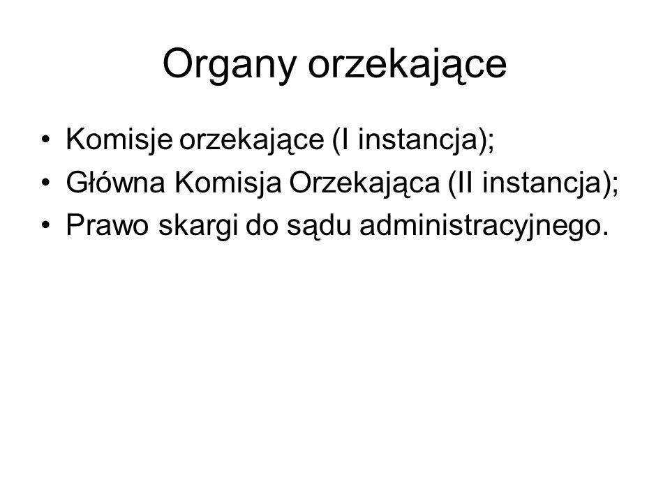 Organy orzekające Komisje orzekające (I instancja); Główna Komisja Orzekająca (II instancja); Prawo skargi do sądu administracyjnego.