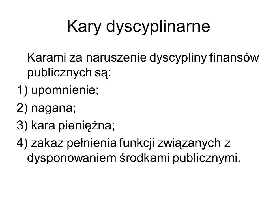 Kary dyscyplinarne Karami za naruszenie dyscypliny finansów publicznych są: 1) upomnienie; 2) nagana; 3) kara pieniężna; 4) zakaz pełnienia funkcji zw