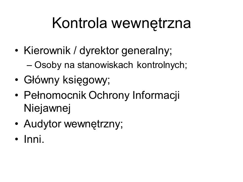 Kontrola wewnętrzna Kierownik / dyrektor generalny; –Osoby na stanowiskach kontrolnych; Główny księgowy; Pełnomocnik Ochrony Informacji Niejawnej Audy