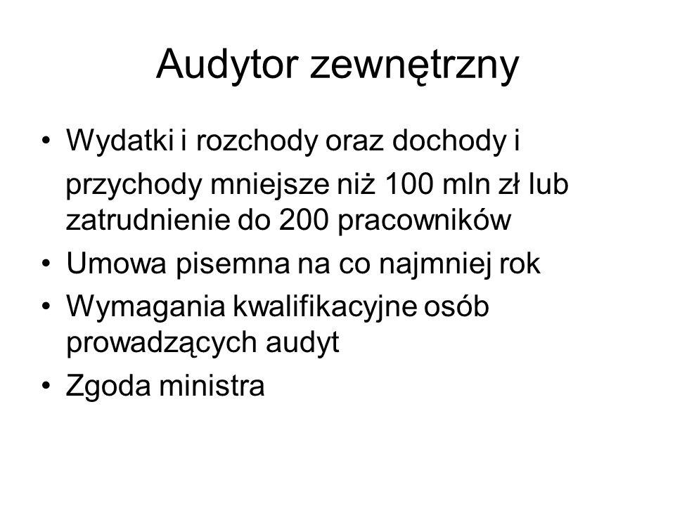 Audytor zewnętrzny Wydatki i rozchody oraz dochody i przychody mniejsze niż 100 mln zł lub zatrudnienie do 200 pracowników Umowa pisemna na co najmnie