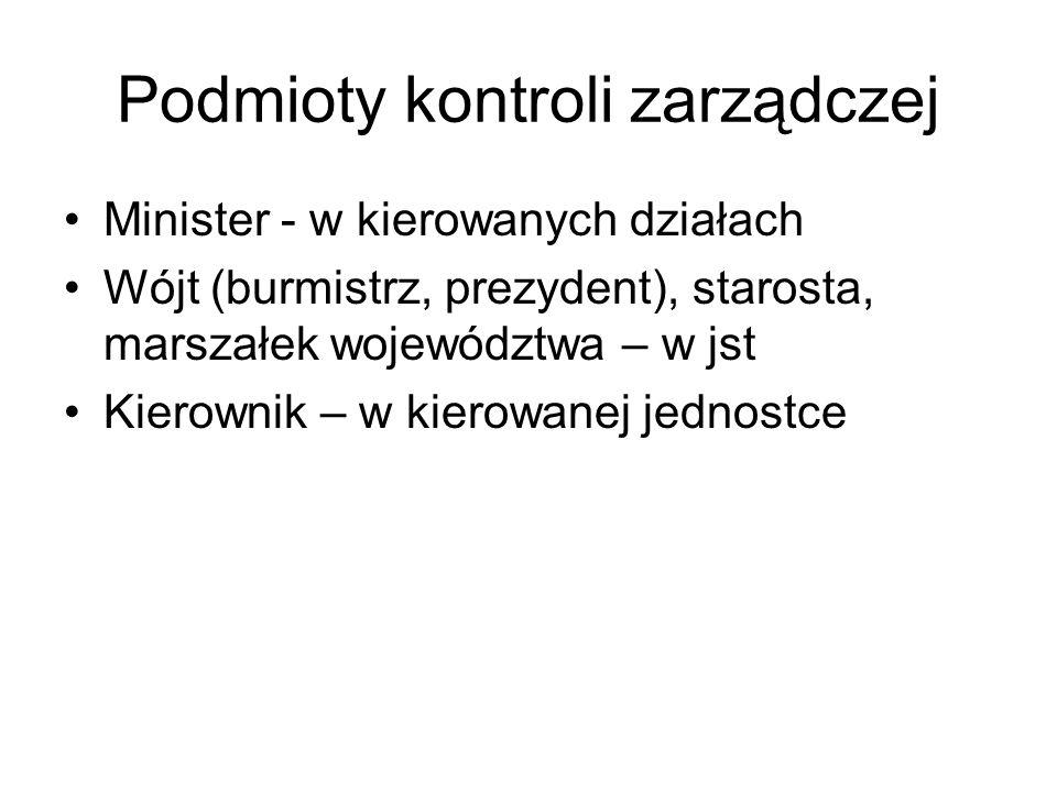 Podmioty kontroli zarządczej Minister - w kierowanych działach Wójt (burmistrz, prezydent), starosta, marszałek województwa – w jst Kierownik – w kier