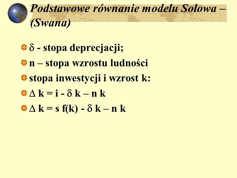 Podstawowe równanie modelu Solowa – (Swana) - stopa deprecjacji; n – stopa wzrostu ludności stopa inwestycji i wzrost k: k = i - k – n k k = s f(k) -