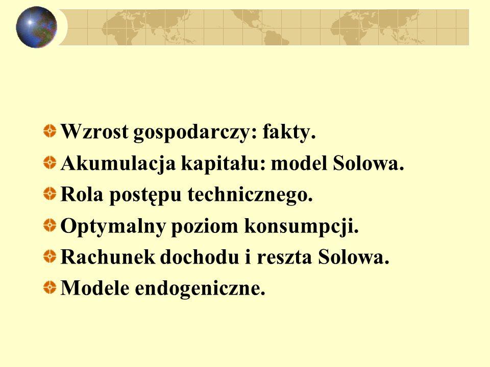 Wzrost gospodarczy: fakty. Akumulacja kapitału: model Solowa. Rola postępu technicznego. Optymalny poziom konsumpcji. Rachunek dochodu i reszta Solowa