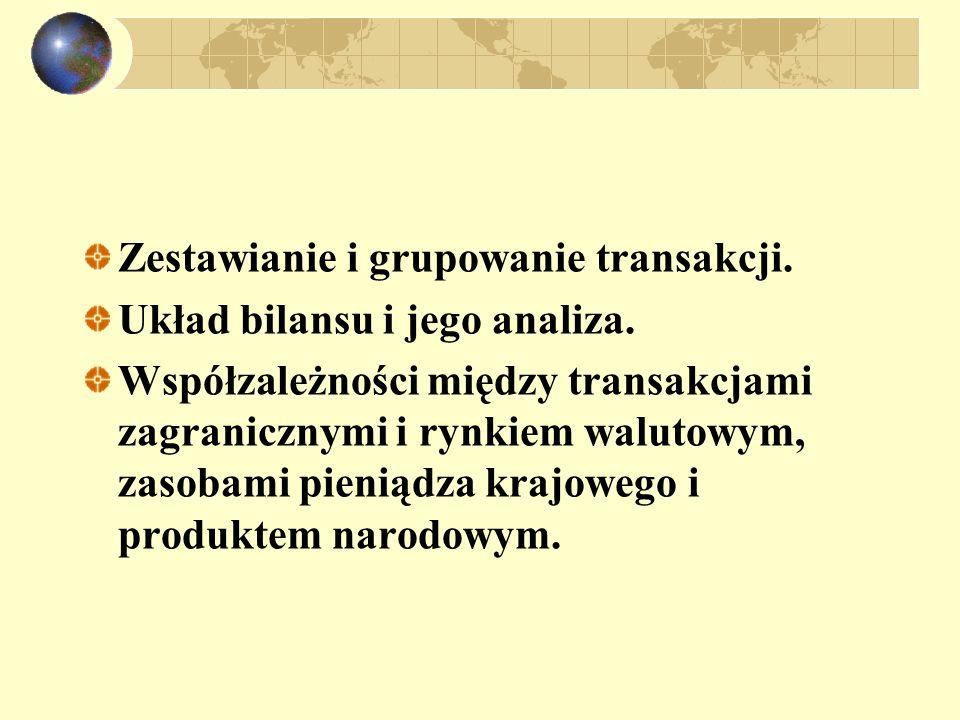 Zestawianie i grupowanie transakcji. Układ bilansu i jego analiza. Współzależności między transakcjami zagranicznymi i rynkiem walutowym, zasobami pie