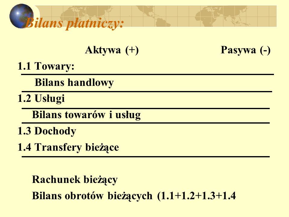 Bilans płatniczy: Aktywa (+) Pasywa (-) 1.1 Towary: Bilans handlowy 1.2 Usługi Bilans towarów i usług 1.3 Dochody 1.4 Transfery bieżące Rachunek bieżą