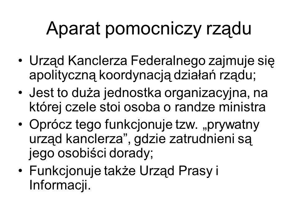 Aparat pomocniczy rządu Urząd Kanclerza Federalnego zajmuje się apolityczną koordynacją działań rządu; Jest to duża jednostka organizacyjna, na której