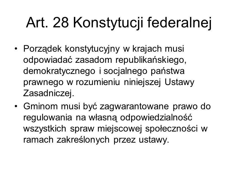 Art. 28 Konstytucji federalnej Porządek konstytucyjny w krajach musi odpowiadać zasadom republikańskiego, demokratycznego i socjalnego państwa prawneg