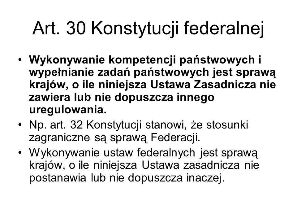Art. 30 Konstytucji federalnej Wykonywanie kompetencji państwowych i wypełnianie zadań państwowych jest sprawą krajów, o ile niniejsza Ustawa Zasadnic