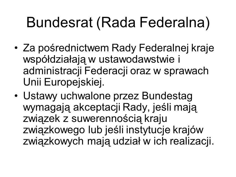 Bundesrat (Rada Federalna) Za pośrednictwem Rady Federalnej kraje współdziałają w ustawodawstwie i administracji Federacji oraz w sprawach Unii Europe