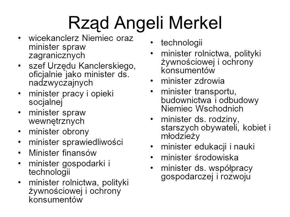 Rząd Angeli Merkel wicekanclerz Niemiec oraz minister spraw zagranicznych szef Urzędu Kanclerskiego, oficjalnie jako minister ds. nadzwyczajnych minis