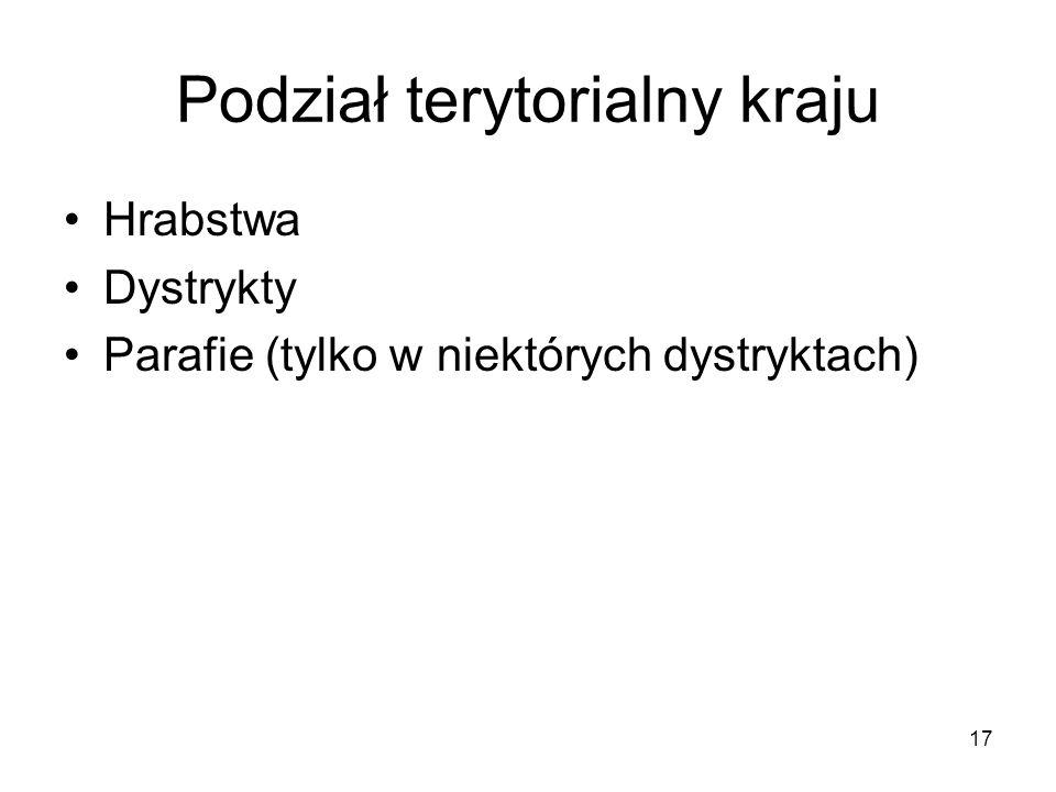 17 Podział terytorialny kraju Hrabstwa Dystrykty Parafie (tylko w niektórych dystryktach)