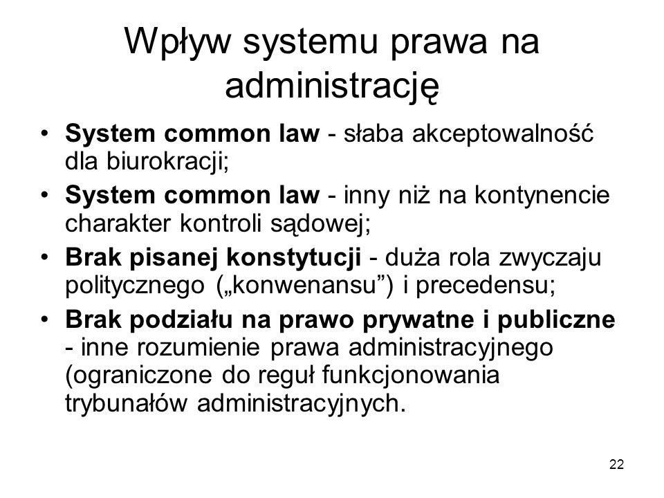 22 Wpływ systemu prawa na administrację System common law - słaba akceptowalność dla biurokracji; System common law - inny niż na kontynencie charakte