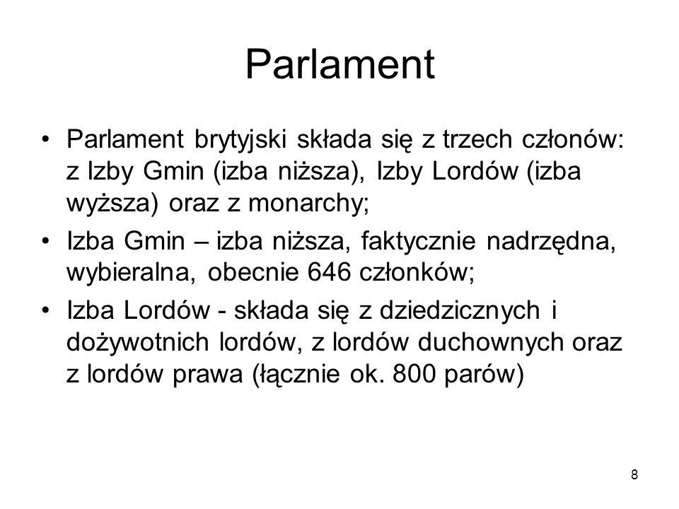 8 Parlament Parlament brytyjski składa się z trzech członów: z Izby Gmin (izba niższa), Izby Lordów (izba wyższa) oraz z monarchy; Izba Gmin – izba ni