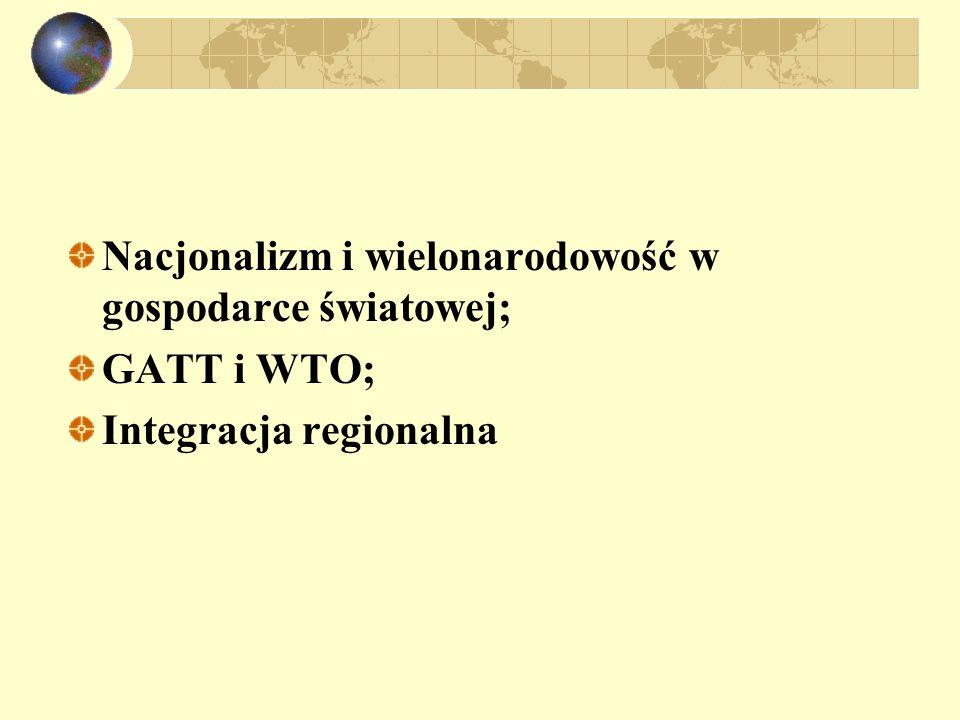 Nacjonalizm i wielonarodowość Cele polityki państwowej i potrzeba współpracy międzynarodowej; Ewolucja polityki handlowej w gospodarce światowej