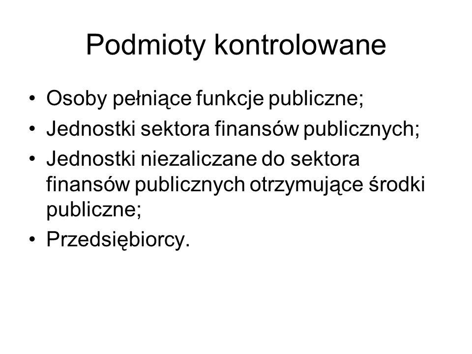 Podmioty kontrolowane Osoby pełniące funkcje publiczne; Jednostki sektora finansów publicznych; Jednostki niezaliczane do sektora finansów publicznych