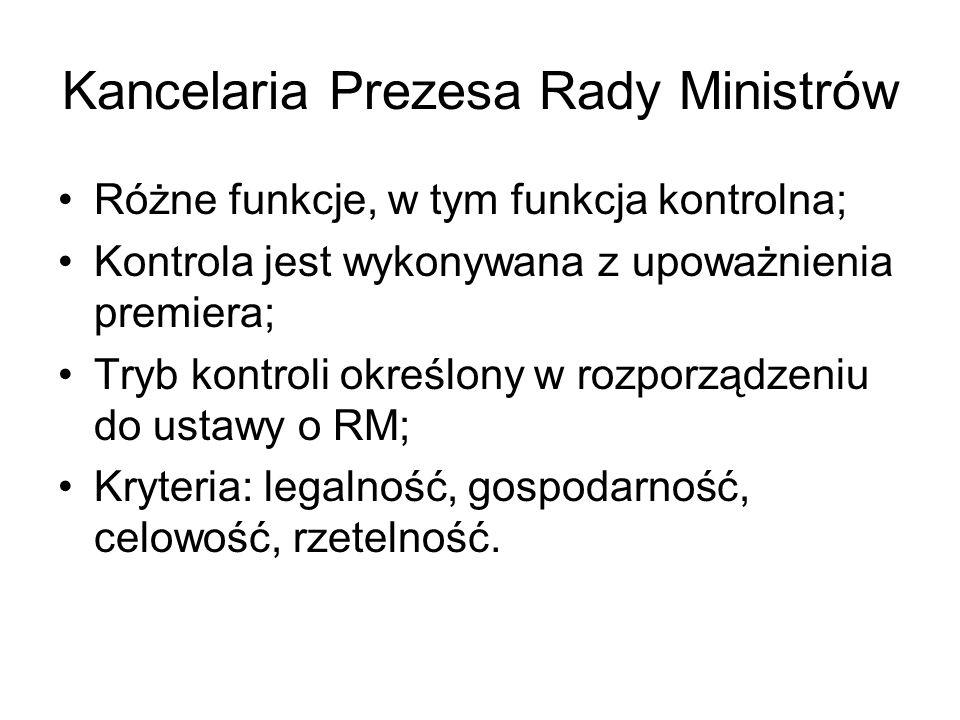 Kancelaria Prezesa Rady Ministrów Różne funkcje, w tym funkcja kontrolna; Kontrola jest wykonywana z upoważnienia premiera; Tryb kontroli określony w