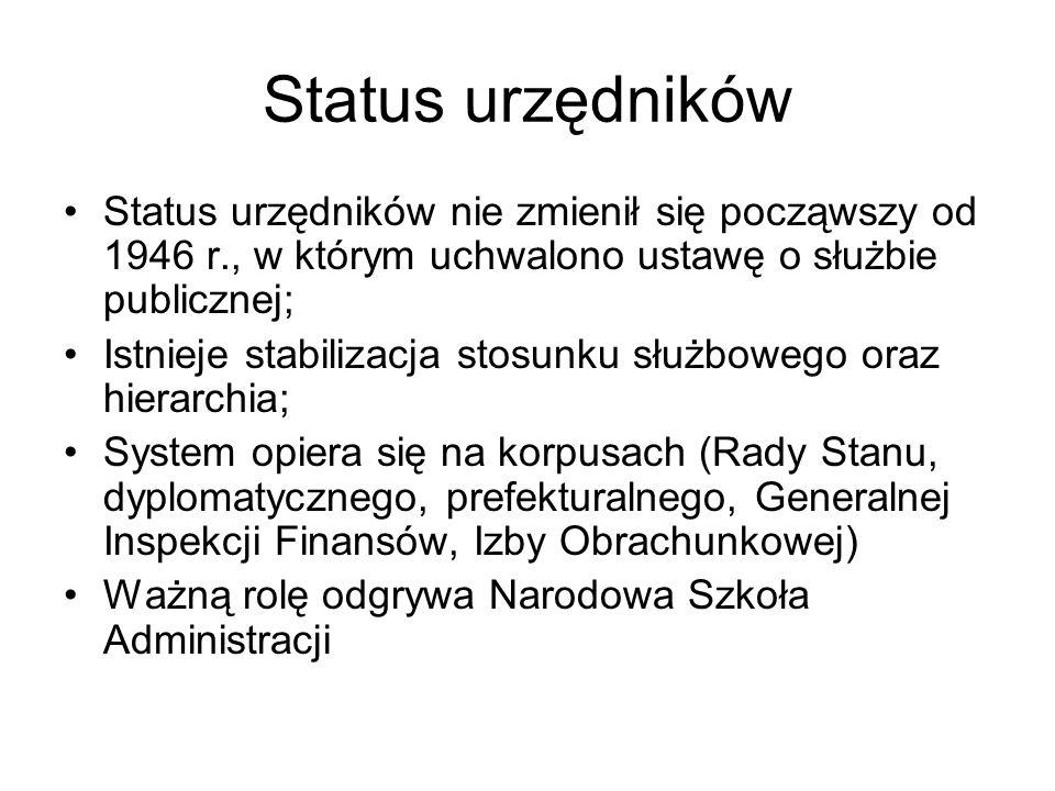 Status urzędników Status urzędników nie zmienił się począwszy od 1946 r., w którym uchwalono ustawę o służbie publicznej; Istnieje stabilizacja stosun