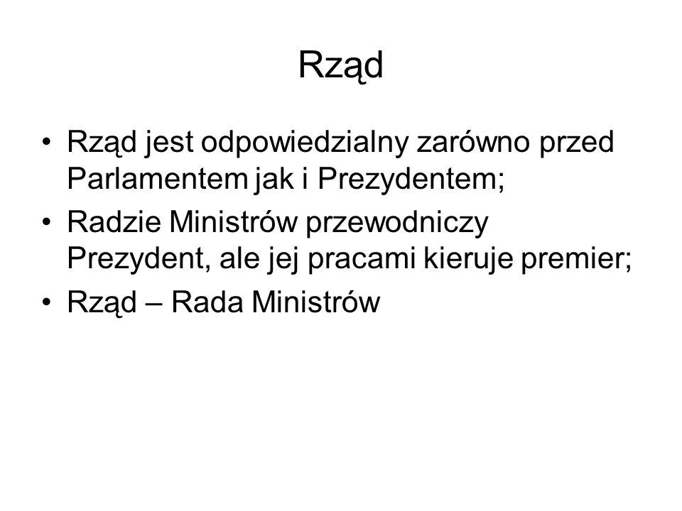 Ministrowie Ministrowie stanu; Ministrowie resortowi; Ministrowie delegowani (przy premierze lub ministrze); Sekretarze stanu.