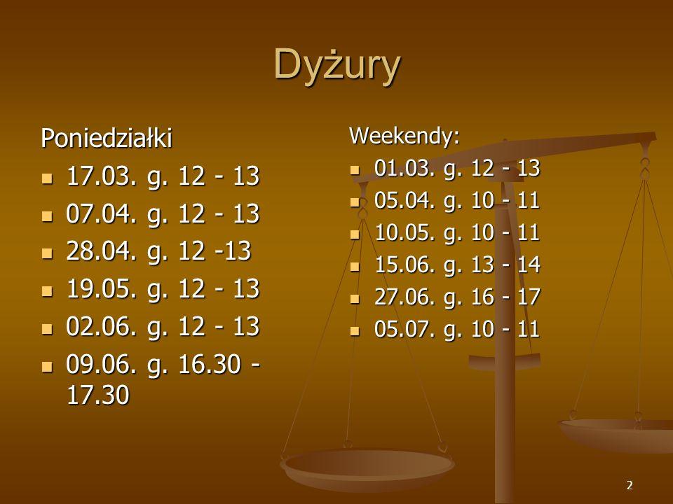 2 Dyżury Poniedziałki 17.03. g. 12 - 13 17.03. g. 12 - 13 07.04. g. 12 - 13 07.04. g. 12 - 13 28.04. g. 12 -13 28.04. g. 12 -13 19.05. g. 12 - 13 19.0